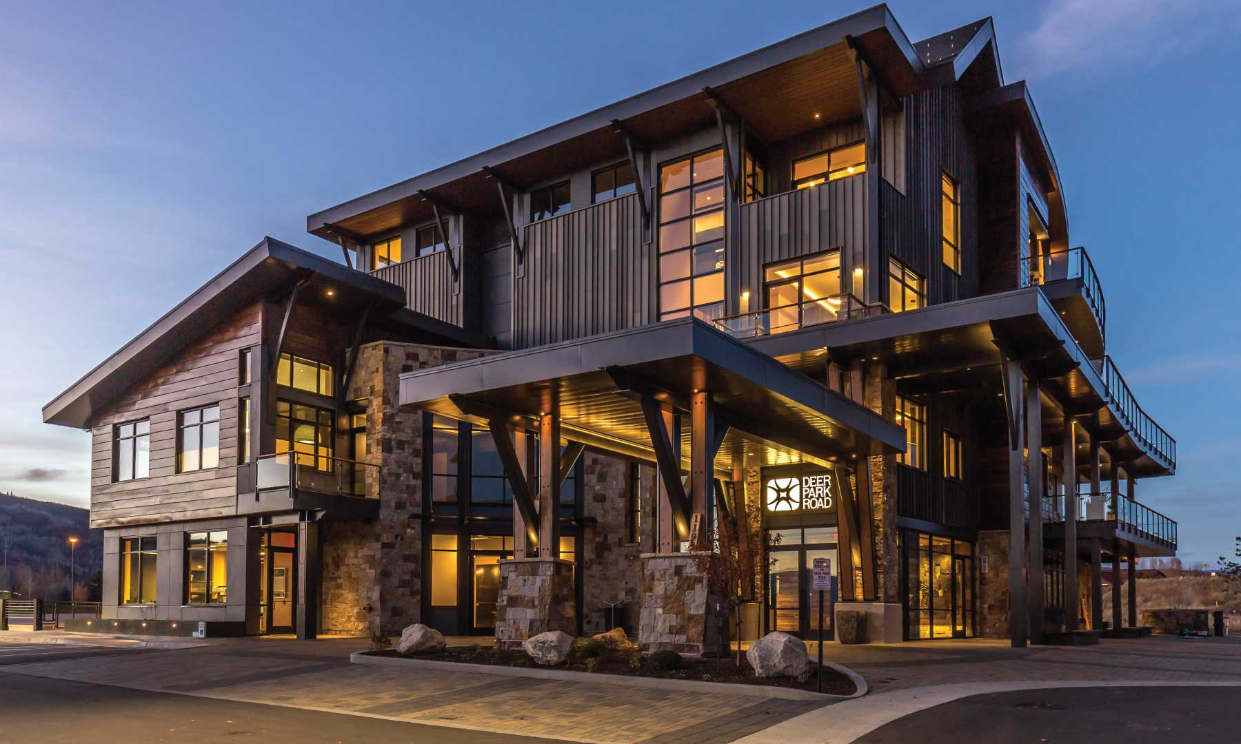 Building in Steamboat Springs all lit up at night.