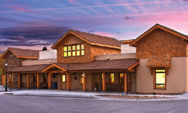 Steamboat Springs community center at sunset.