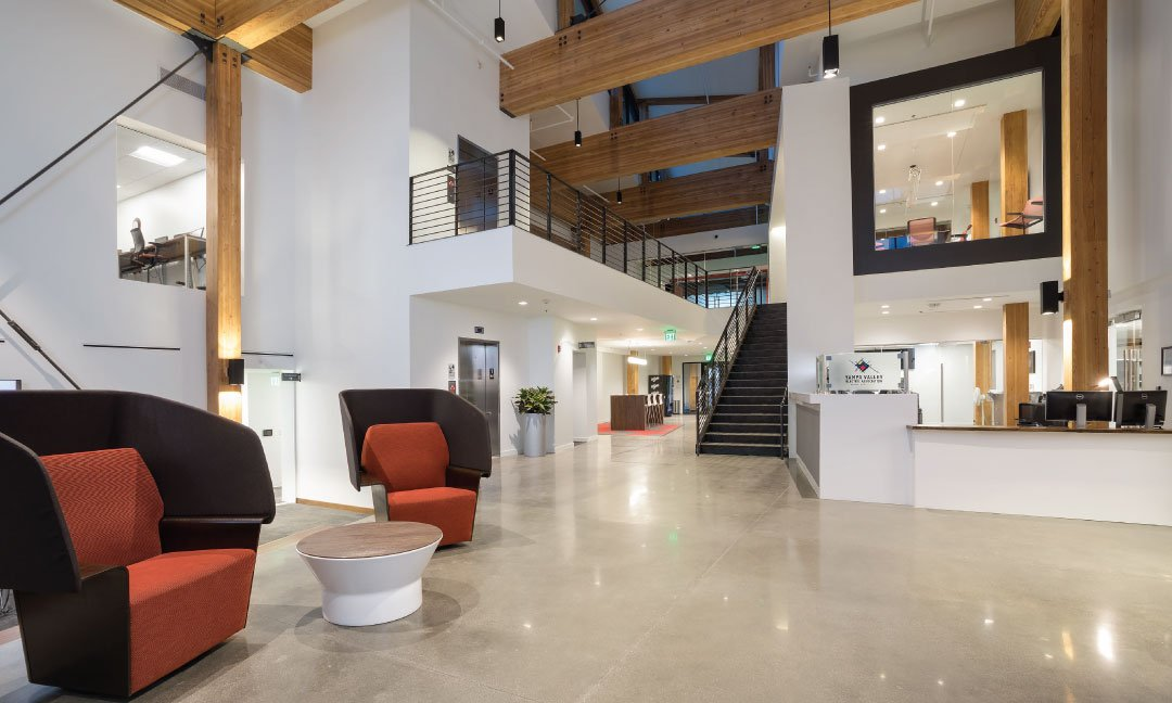 Two story lobby entrance into Yampa Valley Electric building.